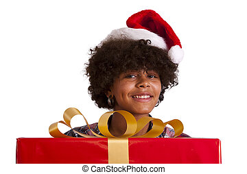african american girl with christmas gift