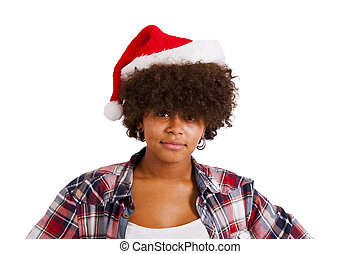 african american girl with christmas hat