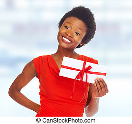 African-American girl with envelope.