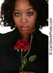 African American Girl With Rose
