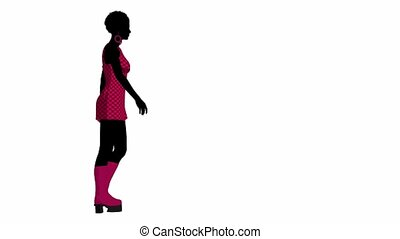 African american go go dancer walking on a white background