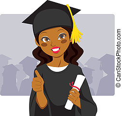 Beautiful african american woman celebrating graduation day holding diploma in her hand and making thumbs up sign