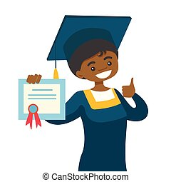 African-american graduate giving thumb up.
