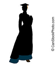 African American Graduate Illustration Silhouette