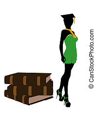 African American Graduate Illustration Silhouette - African...