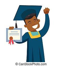 African-american graduate showing diploma.