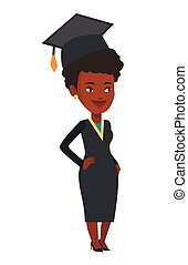 African-american graduate vector illustration.