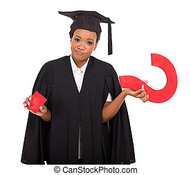 african american graduate with question mark