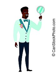 African groom in a wedding suit holding a hand mirror. Full length of groom looking at himself in a hand mirror. Groom with hand mirror. Vector flat design illustration isolated on white background.