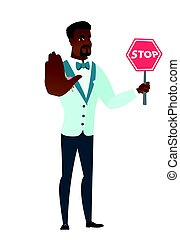 African-american groom holding stop road sign.