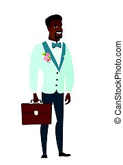 African-american groom holding briefcase.