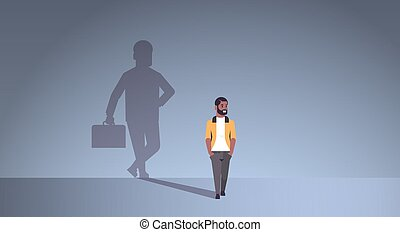 african american guy dreaming about being businessman shadow of business man with briefcase imagination aspiration concept male cartoon character standing pose full length flat horizontal