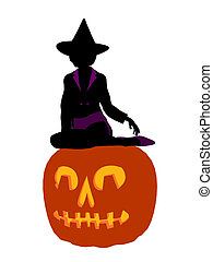African American Halloween Witch Art Illustration Silhouette...
