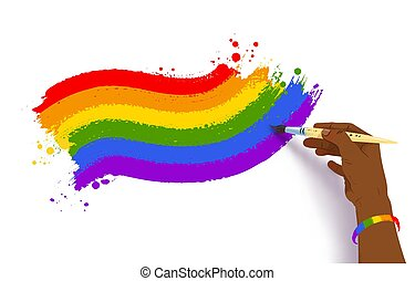 Vector illustration of african american hand drawing rainbow LGBT flag waved banner with paintbrush isolated on white background.