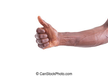 African american hand making thumbs up gesture - Black people
