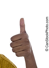 African american hand making thumbs up gesture