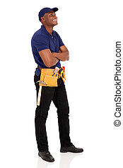 african american handyman looking up