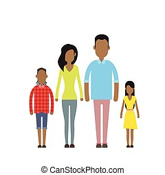 African American Happy Family Four People, Parents With Two Children