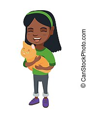 African-american happy girl holding a cat.