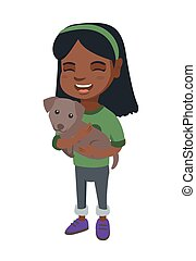 African-american happy girl holding a dog.