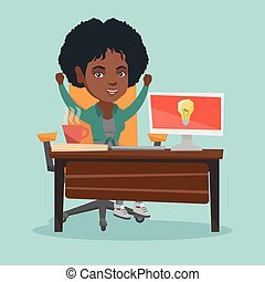 African-american happy woman having business idea.