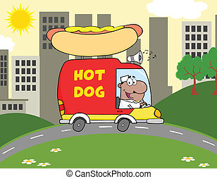 African American Hot Dog Vendor