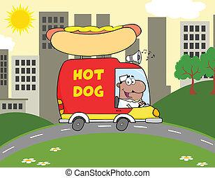 African American Hot Dog Vendor