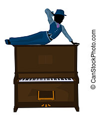 African american jazz musician on a piano on a white background