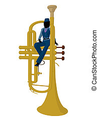 African american jazz musician on a trumpet on a white background