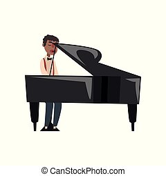 African American jazz musician playing grand piano vector Illustration
