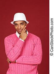 african-american, jeune, fond, branché, rouges, homme