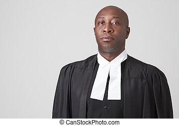 African american judge - Bald black man wearing a judicial...