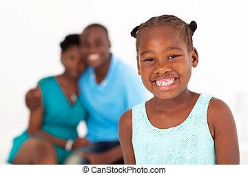 african american, kicsi lány, álló