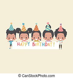 African-American Kids Greeting with Happy Birthday Banner