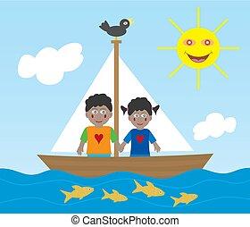 African American kids on sailing adventure