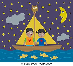 African American kids sailing adventure into the night