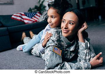 african american, lány, és, anya