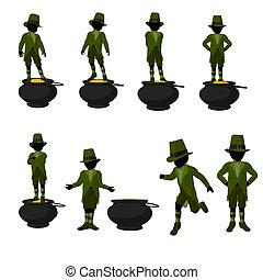 African American Leprechaun Boy Illustration Silhouette -...