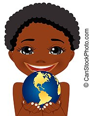 african american little boy holding earth globe