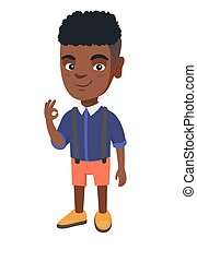 African-american little boy showing ok sign.