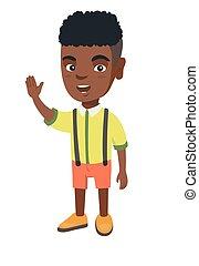 African-american little boy waving hand.