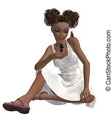 African American Little Girl - Little girl sitting down...