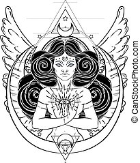 African American magic woman holding all seeing eye with rays. Vector Illustration. Mysterious black girl over sacred geometry symbols and wings. Alchemy, religion, spirituality, occultism