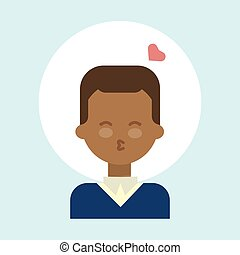 African American Male Blow Kiss Emotion Profile Icon, Man Cartoon Portrait Happy Smiling Face