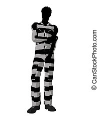 African American Male Criminal Silhouette Illustration -...