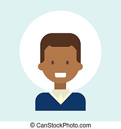 African American Male Emotion Profile Icon, Man Cartoon Portrait Happy Smiling Face