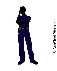 African american male police officer silhouette illustration on a white background