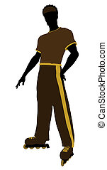 African american male roller skater illustration silhouette on a white background