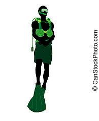 African American Male Scuba Diver Illustration Silhouette
