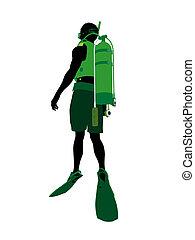 African American Male Scuba Diver Illustration Silhouette - ...